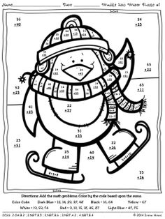 PRACTICE FINE MOTOR SKILLS... Waddle Into Winter: Penguin Math Printables Color By The Code Puzzles To Practice Math Skills. ~This Unit Is Aligned To The CCSS. Each Page Has The Specific CCSS Listed.~ This set includes 4 math puzzles with 2-Digit Addition & Subtraction without regrouping. $