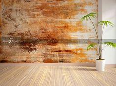 Deze mural met roest effect is gemaakt van 1 mm dik flexibel pleisterwerk waardoor het de look en feel van een echte muur heeft.  www.puurkleur.com  #wallcouture #puurkleur #geenbehang