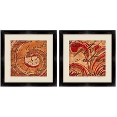Red Flower Wall Art, 14 inch x 14 inch, Set of 2, Multicolor
