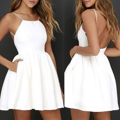 Sexy Spaghetti Backless Mini Dress ,White Homecoming Dress – Simplepromdress Source by waltergrritter short dresses White Homecoming Dresses, Cute Prom Dresses, Grad Dresses, Dance Dresses, Pretty Dresses, Evening Dresses, Casual Dresses, Bridesmaid Dresses, Banquet Dresses
