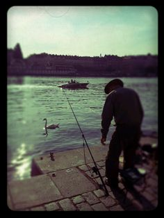 the old man and the #river / #fisher in #prague