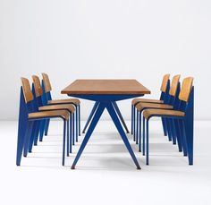 """eccentric Kollector.  Jean Prouvé Set of six """"Semi-Metal"""" chairs and """"Compas"""" table, from Electricite de France, Marcoule, circa 1953"""