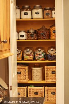 I love glass jars!  chalkboard labels. glass jars of all sizes with lids, baskets = One organized space!!