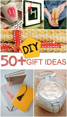 50+ DIY Gift Ideas.  Great DIY Projects and tutorials that make great gifts.