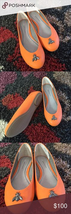 Pilcro and the Letterpress Trinket flats (bee) From Anthropologie. Genuine leather. Bright orange with a metal bee charm. NWOT. Never worn. Size 7.5. They no longer sell these. Anthropologie Shoes Flats & Loafers