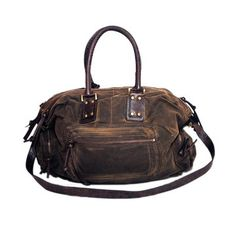 Caldy Travel Bag from Kempton & Co. - British waxed canvas, vintage leather; large enough to tote around your laptop
