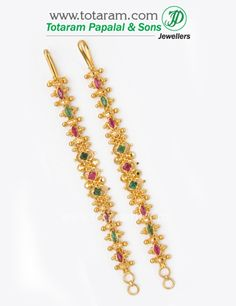 22K Gold Ear Chain (Matilu) with Ruby & Emerald - 1 Pair - GEM018 - Indian Jewelry from Totaram Jewelers