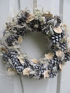 Silver grey wreath indoor dried floral floristic gift idea year round decoration handmade home decor pine cone holiday Cristmas birthday on Etsy, $48.26 CAD