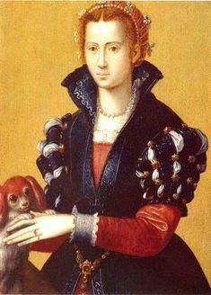 Angnolo Bronzino, Agnolo di Cosimo, (Italian Mannerist artist, 1503-1572) Portrait of a Lady with Dog