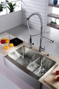 Kraus Stainless Steel 33 Inch Farmhouse Double Bowl Kitchen Sink And Chrome  Kitchen Faucet With Soap Dispenser.