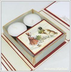 Mariannes papirverden.: Telyskort - Pion Design Xmas Flowers, Diy And Crafts, Paper Crafts, Craft Box, Tea Lights, Christmas Cards, Decorative Boxes, Scrapbook, Candles