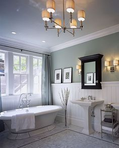 tile // wainscoting // light fixture