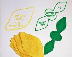 While Wearing Heels: I heart fake food - Lemon Tutorial Felt Food Patterns, Sewing Patterns Free, Free Sewing, Felt Diy, Felt Crafts, Lemon Crafts, Felt Fruit, Felt Play Food, Diy Couture