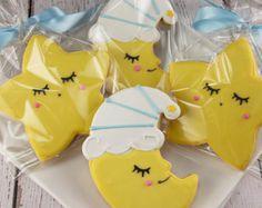 Star & Moon Cookies, Baby Cookies - 12 Decorated Sugar Cookie Favors
