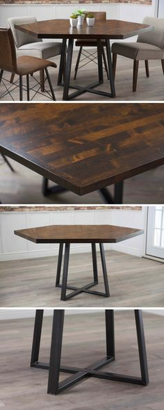 The Hexagon Industrial Steel Pedestal Table features a solid wood top and welded steel base. This hexagonal open concept dining table exudes effortles. Steel Furniture, Dining Furniture, Rustic Furniture, Interior Room Decoration, Home Decor, Room Interior, Natural Wood Table, Casual Dining Rooms, Dinner Table