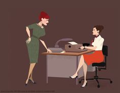 "Dyna Moe's illustration of Joan scolding Jane for her inappropriate dress attire in Season 2's ""The New Girl""."
