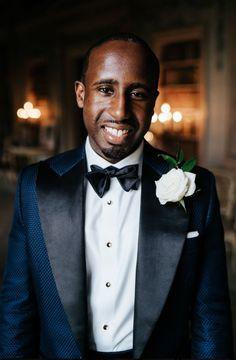 Blue Tuxedo Dinner Jacket for Groom at Black Tie Wedding | By Michael Maurer | Black Tie Wedding | Syon Park Wedding | Ghanaian Wedding Traditions | Luxe Wedding | Groom in Dinner Jacket | White Rose Buttonhole