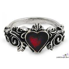 Betrothal Gothic Heart Pewter Ring AG-R134 by Alchemy Gothic