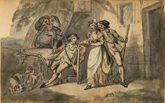 'Sportsmen outside an inn with serving girl' by Charles Catton (1728-1798)