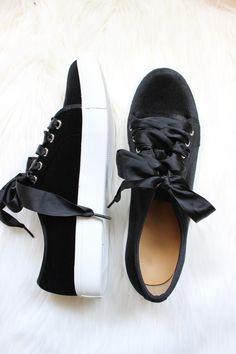 Cleo Velvet Sneakers in Jet Black