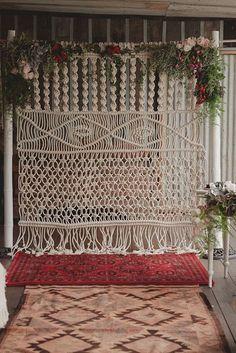 Bohemian Macrame Knotted Wedding Backdrop - Deer Pearl Flowers