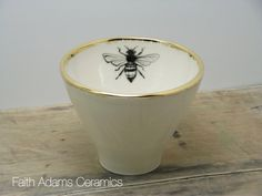 One White and Gold Honey Bee Porcelain Tea by FaithAdamsCeramics