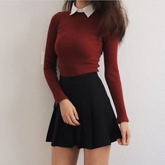 50 moderne Rock-Outfit-Ideen, die sich für den Herbst eignen 50 modern rock outfit ideas that are suitable for autumn # own outfits with skirts Teen Fashion Outfits, Mode Outfits, Cute Fashion, Look Fashion, Korean Fashion, Dress Outfits, Womens Fashion, Fashion Dresses, Trendy Fashion