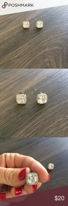 Silver Large Square CZ Earrings Simulated stones.  Silver tone. Independent Designer Jewelry Earrings
