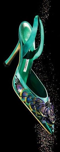 "Manolo Blahnik Green satin ""Carolyne"" slingback with peacock feather and sequin embellishment 