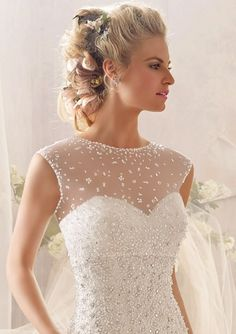 Shop Morilee's Morilee Bridal Tulle Bolero Bridal Jacket with Delicately Scattered Beading. Wedding Dresses and Bridal Gowns by Morilee designed by Madeline Gardner. Tulle Bolero Bridal Jacket with Delicately Scattered Beading Wedding Dress Topper, Plain Wedding Dress, Wedding Coat, Wedding Jacket, Stunning Wedding Dresses, Bridal Wedding Dresses, Tulle Wedding, Wedding Bells, Wedding Hair