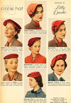 what-i-found: Make your own Lilly Dache Circle Hat! 1953 #millinery #judithm #hatpattern