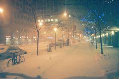snowy city night. The best.