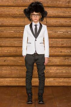 Love this black and white suit by DSquared2 Kids. Famous Mini Me Fashion for boys shop online at http://www.dashinfashion.com/blog/shopping-tips/boys-holiday-clothes-2014