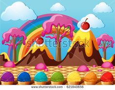 Candy land with chocolate mountains and icecream field illustration
