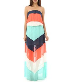 Coral & Navy Semi-Sheer Chevron Strapless Maxi Dress