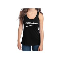 The Walking Dead Inspired Clothing Michonned Katana Semi-Fitted... ($18) ❤ liked on Polyvore featuring tops, black, tanks, women's clothing, print shirts, racerback tank, black racerback tank, black top and black singlet