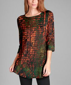 Look at this #zulilyfind! Rust & Green Abstract Tunic - Plus Too #zulilyfinds