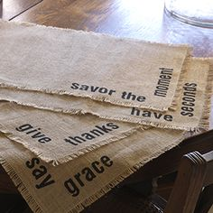 "Product # 16000 Stamped Jute Placemats - Set of 4 19"" l x 13"" w Set of 4. Wipe clean only. Price: $22.00"