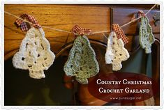 Country Christmas Garland - crochet trees