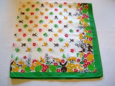 Lovely German Vintage Easter HandPrinted Tablecloth with Chicks Bunnies Eggs and Flowers made in the DDR/Tablelinen topper