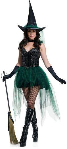 78e8c98546db4 Halloween Costume Femme Sorcière Sexy Courte Robe + Chapeau Applique Tulle  Bretelles Dos Nu Épaules Dénudé