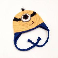 Minion hat Despical Me Hat Crochet Minion hat minion Minion Crochet, Crochet Baby Hats, Etsy Handmade, Handmade Crafts, Handmade Jewelry, Baby Patterns, Crochet Patterns, Minion Hats, Crochet Baby Blanket Beginner