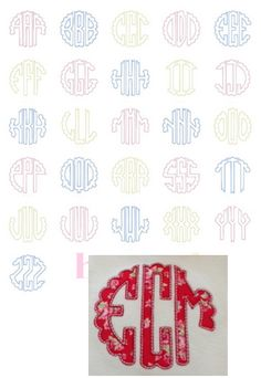 Scalloped Circle Applique Font Sizes: 4x4, 5x7, 6x10 Left, Middle, & Right Letters
