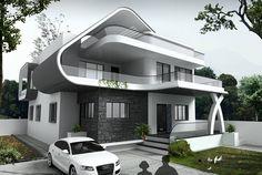 casa de diseño de lujo minimalista moderno de 2 plantas