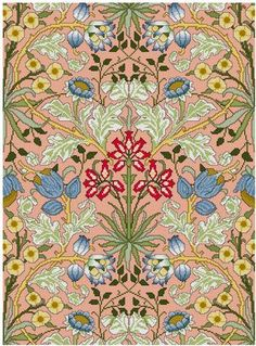 William Morris Hyacinth Wallpaper design Cross stitch pattern PDF by Whoopicat on Etsy