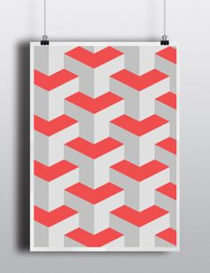 "Poster 18""X24"" Cube Pattern"