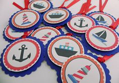 Party Favor Gift Tags: Blue Nautical Theme with Boats & Anchors- Baby Shower and Party Decorations. $12.00, via Etsy.
