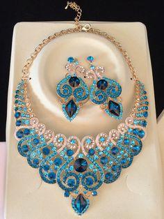 Мода комплект свадебных ювелирных свадьбы ожерелье серьги для невесты ну вечеринку аксессуары позолоченные стекло украшение женщины купить на AliExpress