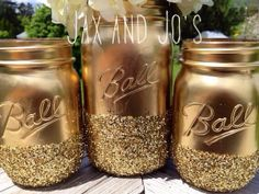 READY to SHIP SALE 3 Shining gold glitter mason jars vase centerpiece wedding decor front page best seller ball kerr rustic Glitter on Wanelo