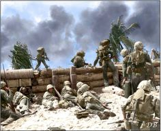 Landing under fire, U.S. Marines of the 2nd Marine Division take cover behind the log seawall while others climb over the top. Red Beach #3, Betio Island, Tarawa Atoll, Nov. 20, 1943  The Tarawa invasion, was the second time in the war that the United States faced serious Japanese opposition to an amphibious landing. Previous landings met little or no initial resistance. The 4,500 Japanese defenders on Tarawa were well-supplied and well-prepared, and they fought almost to the last man…